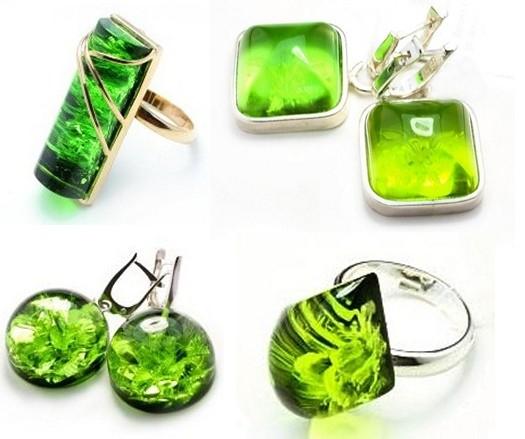 Янтарь зеленого цвета